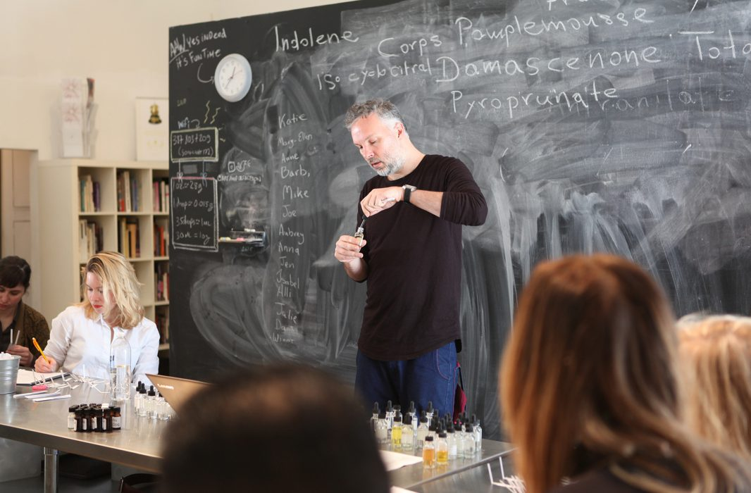 Spyros Drosopoulos teaching a perfume class in Los Angeles